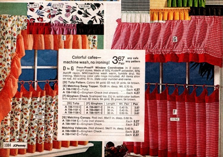 Colorful vintage-style cafe curtains from the 70s - floral and gingham