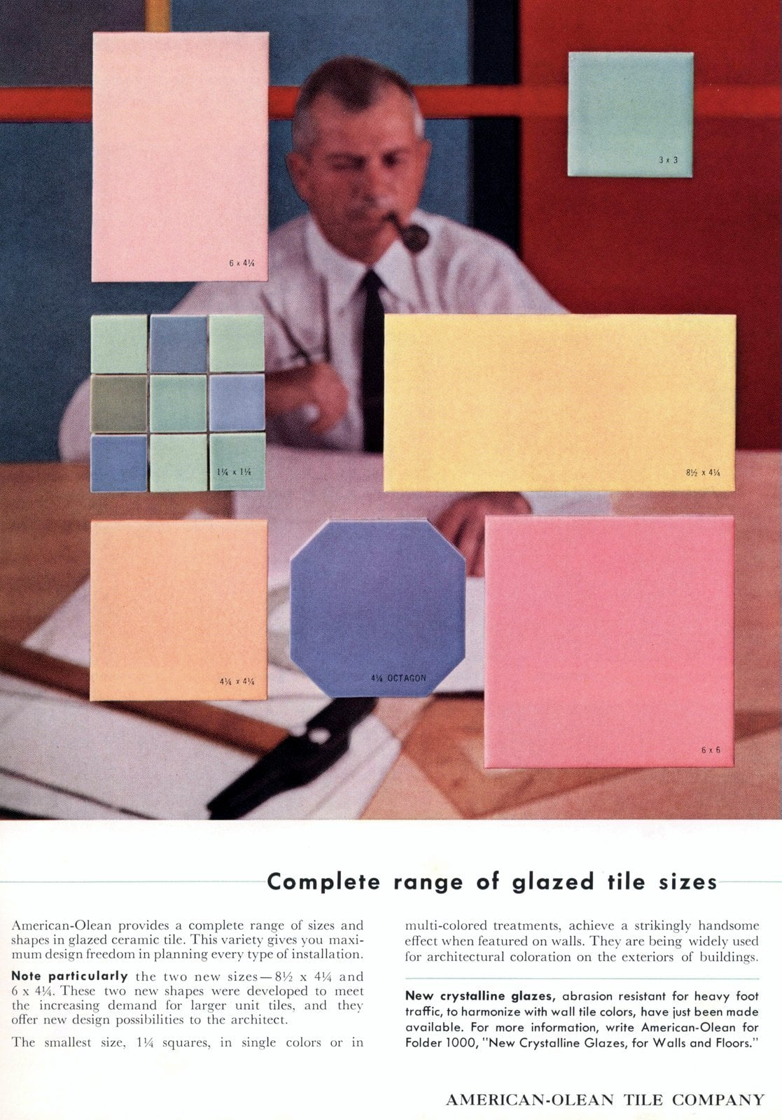 Colors of vintage ceramic tiles from American-Olean (1956)