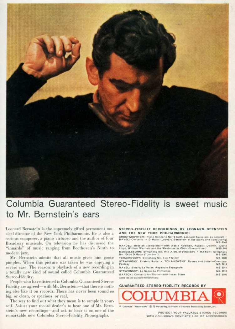 Columbia guaranteed stereo-fidelity is sweet music to Mr Bernstein's ears (1959)