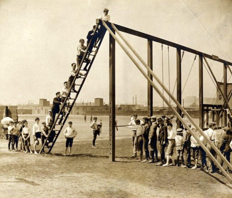 Columbus Ave. playground. Gymnasium and boys exercising c1905 - Boston Public Library