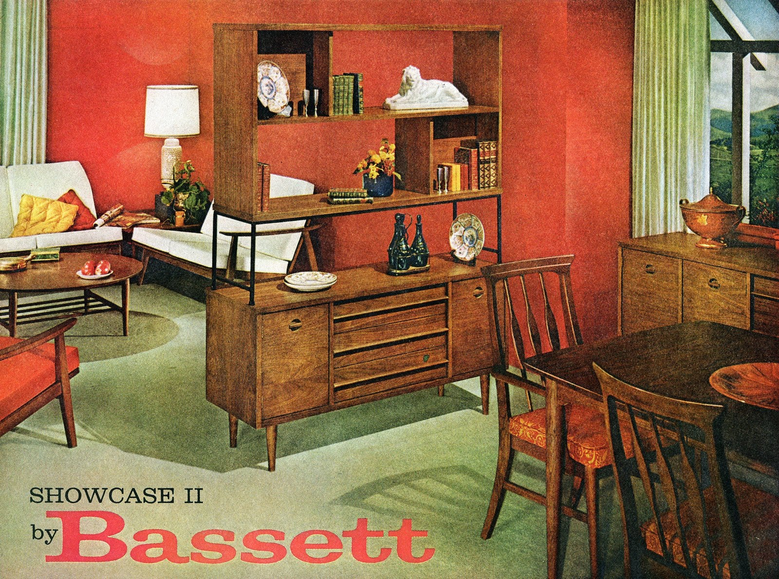 Combo living room and dining room with stained wood furniture (1961)