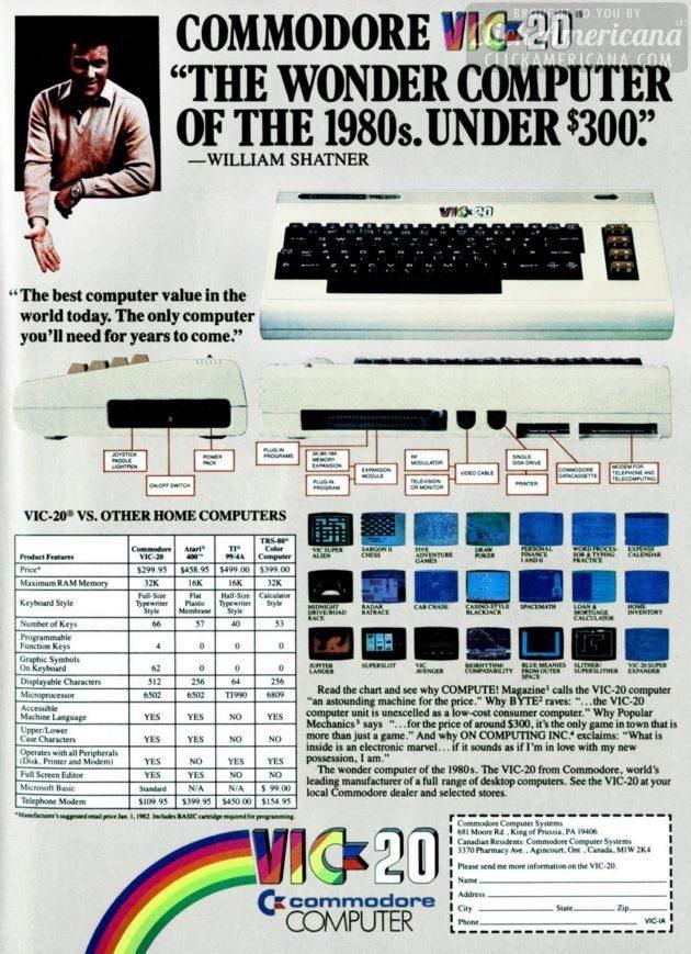 Commodore VIC-20 computer ad 1982