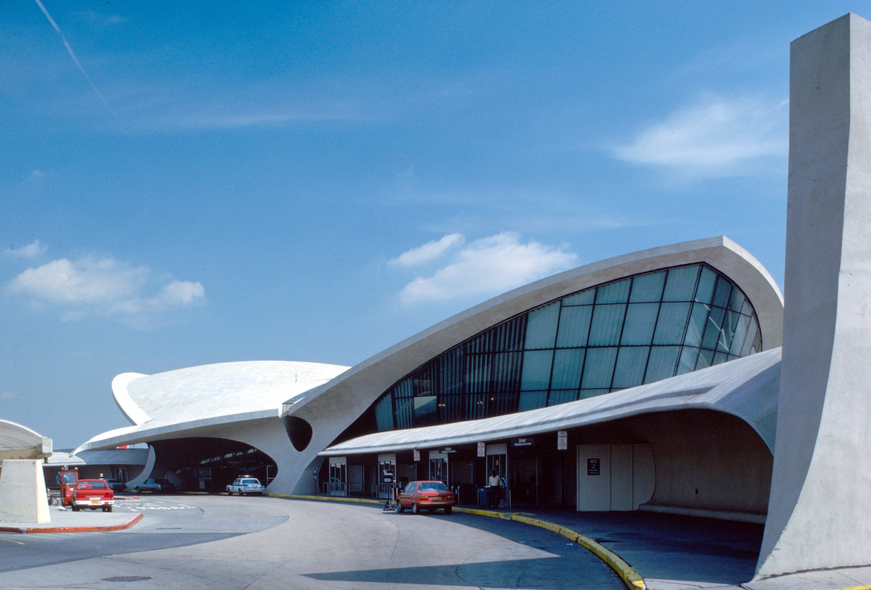 Completed front view of TWA terminal at JFK airport