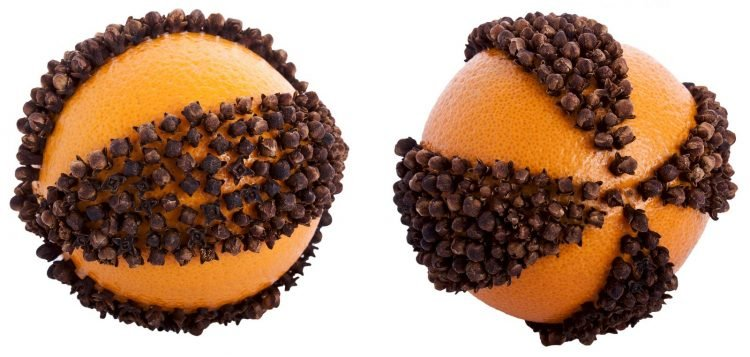 Christmas pomander of orange and cloves