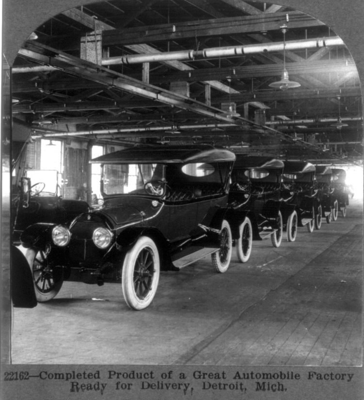 Completed product of a great automobile factory ready for delivery, Detroit, Mich. 1917
