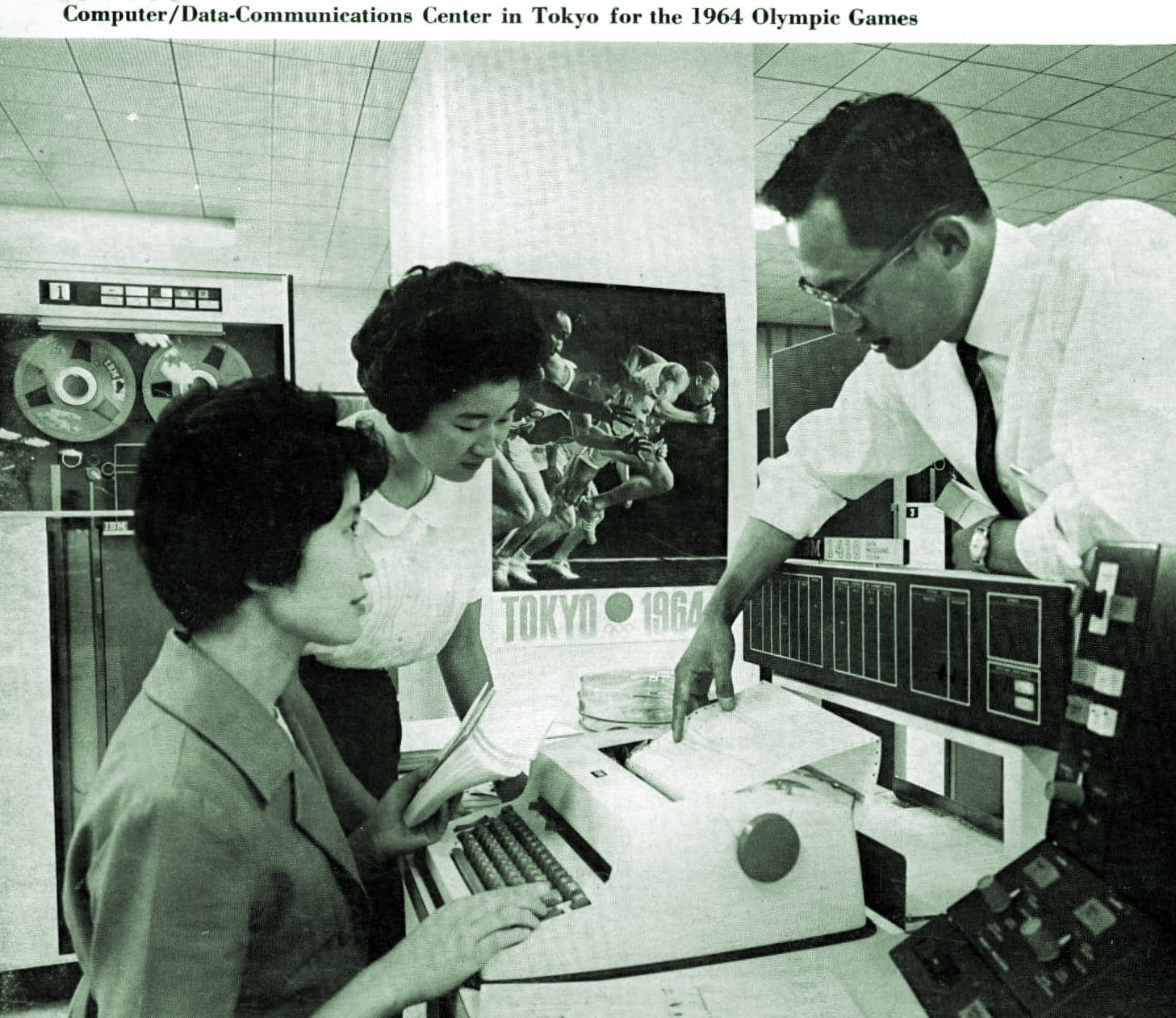 Computer-Data communications center in Tokyo Japan for the 1964 Olympic Games