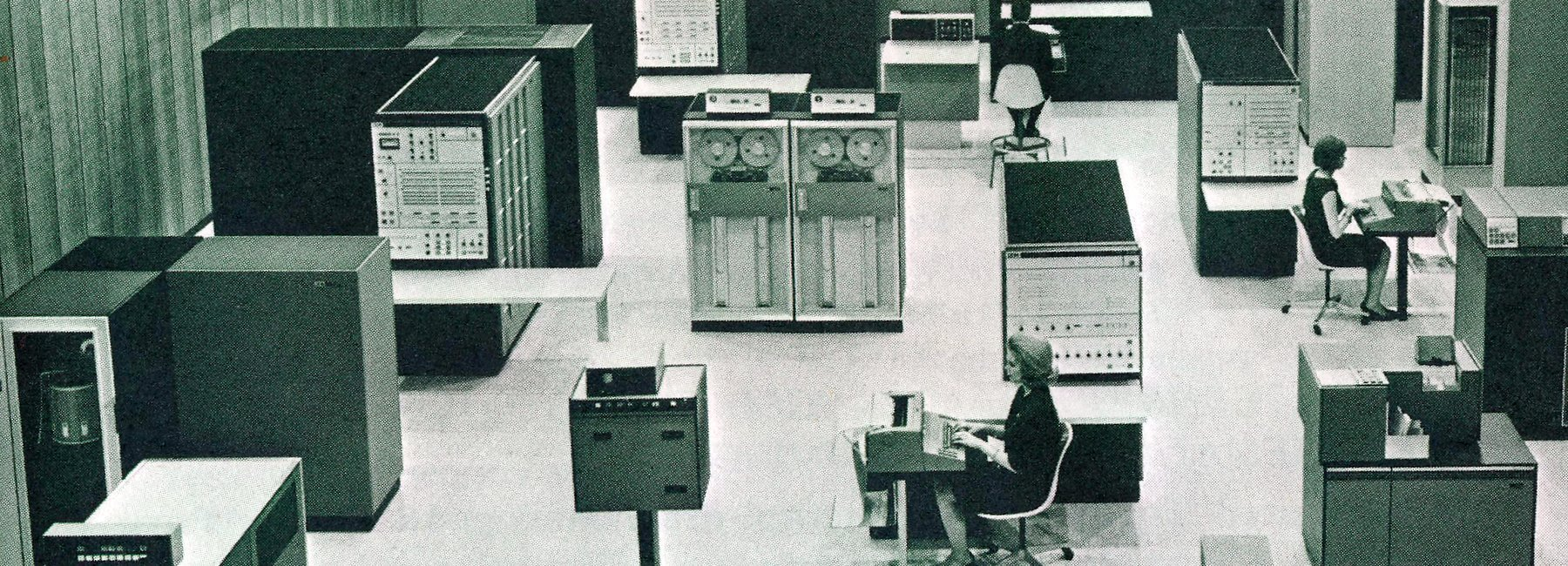 Computer terminals and women working (1969)