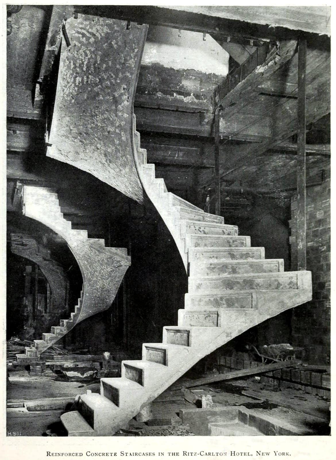Concrete staircases under construction in 1911 - Ritz Hotel - New York City - ClickAmericana com