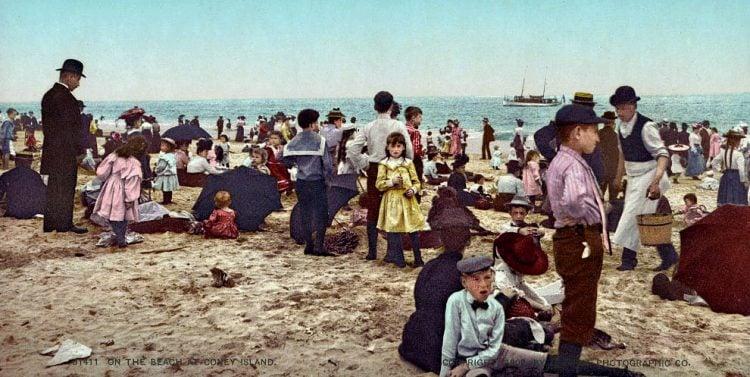 Coney Island beach scene from 1902