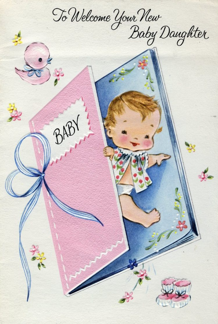Congrats on your new baby daughter - Vintage cards from 1969