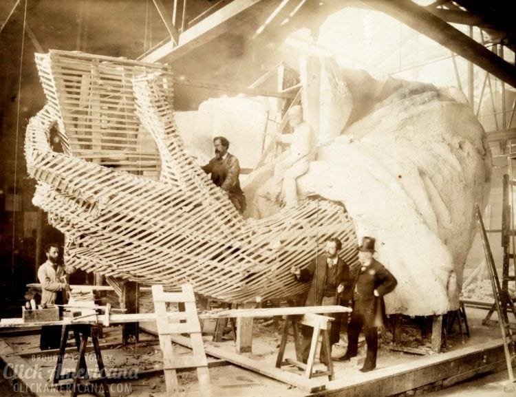 Construction of the skeleton and plaster surface of the left arm and hand of the Statue of Liberty