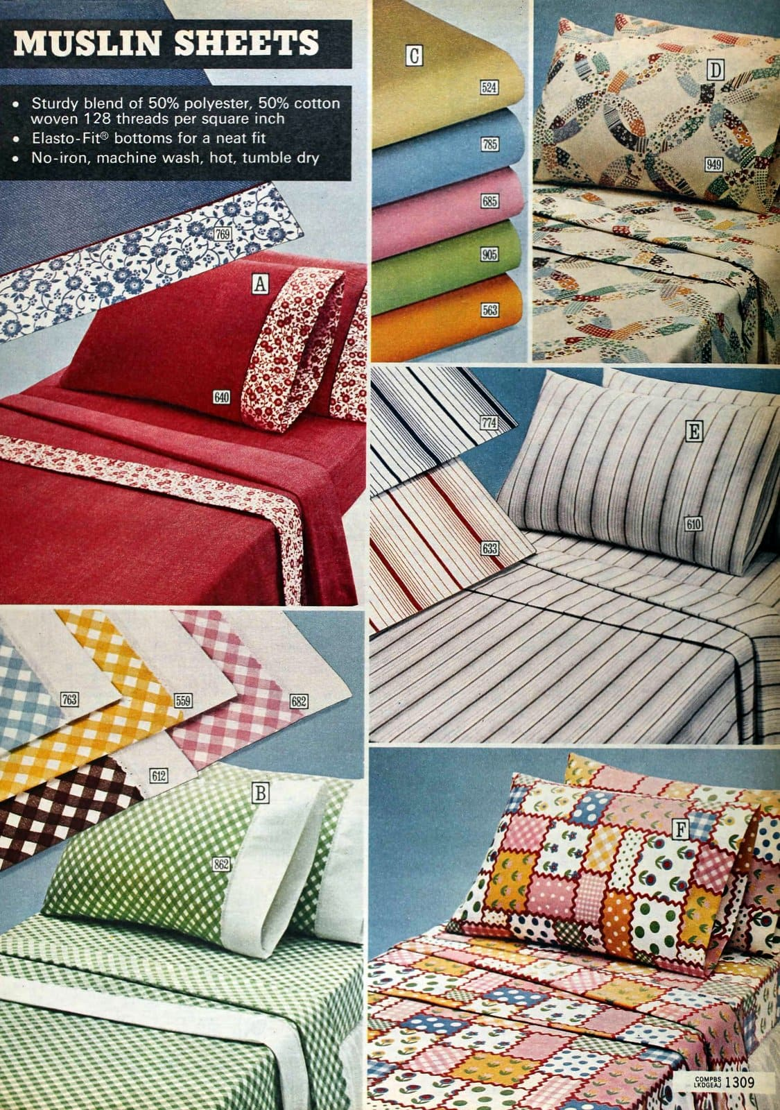 Contemporary 1970s muslin sheets - Vintage designs and bedroom home decor