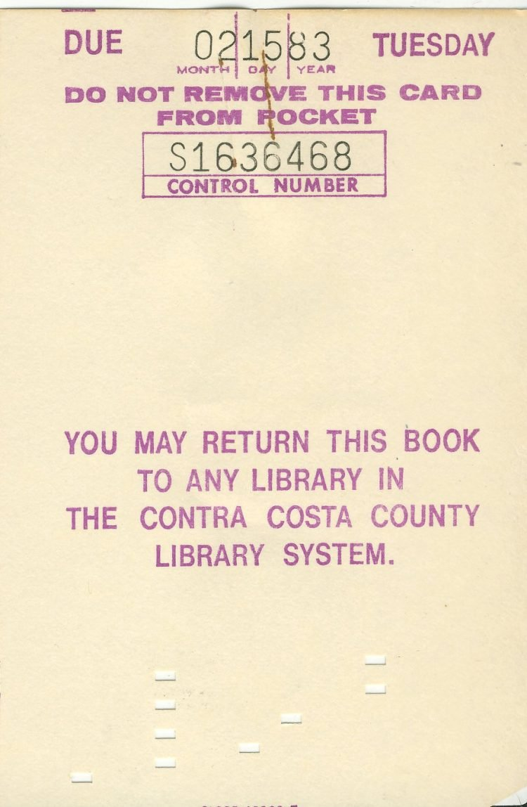 Contra Costa County library book due date 1983