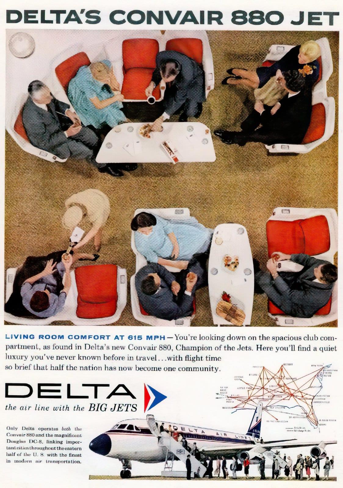 Convair-880 Delta airlines flight interior