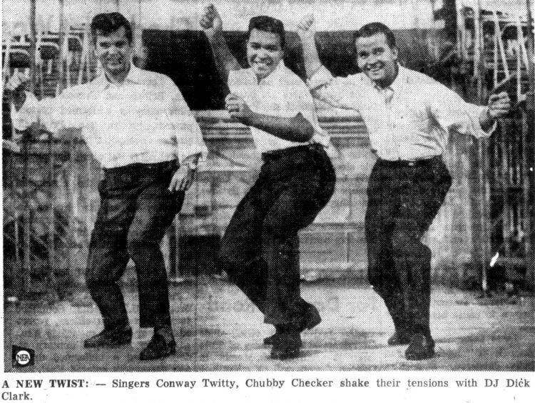 Conway Twitty - Chubby Checker and Dick Clark doing the Twist dance 1961