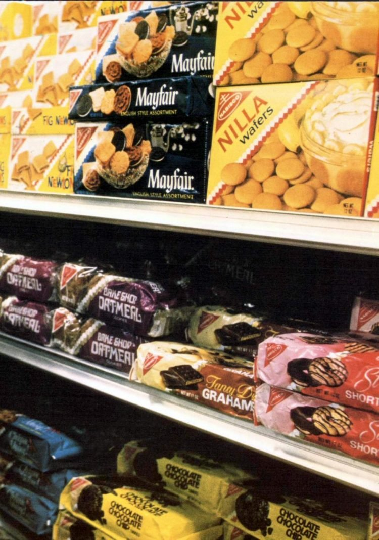 Cookie shelves at vintage grocery store - 1974