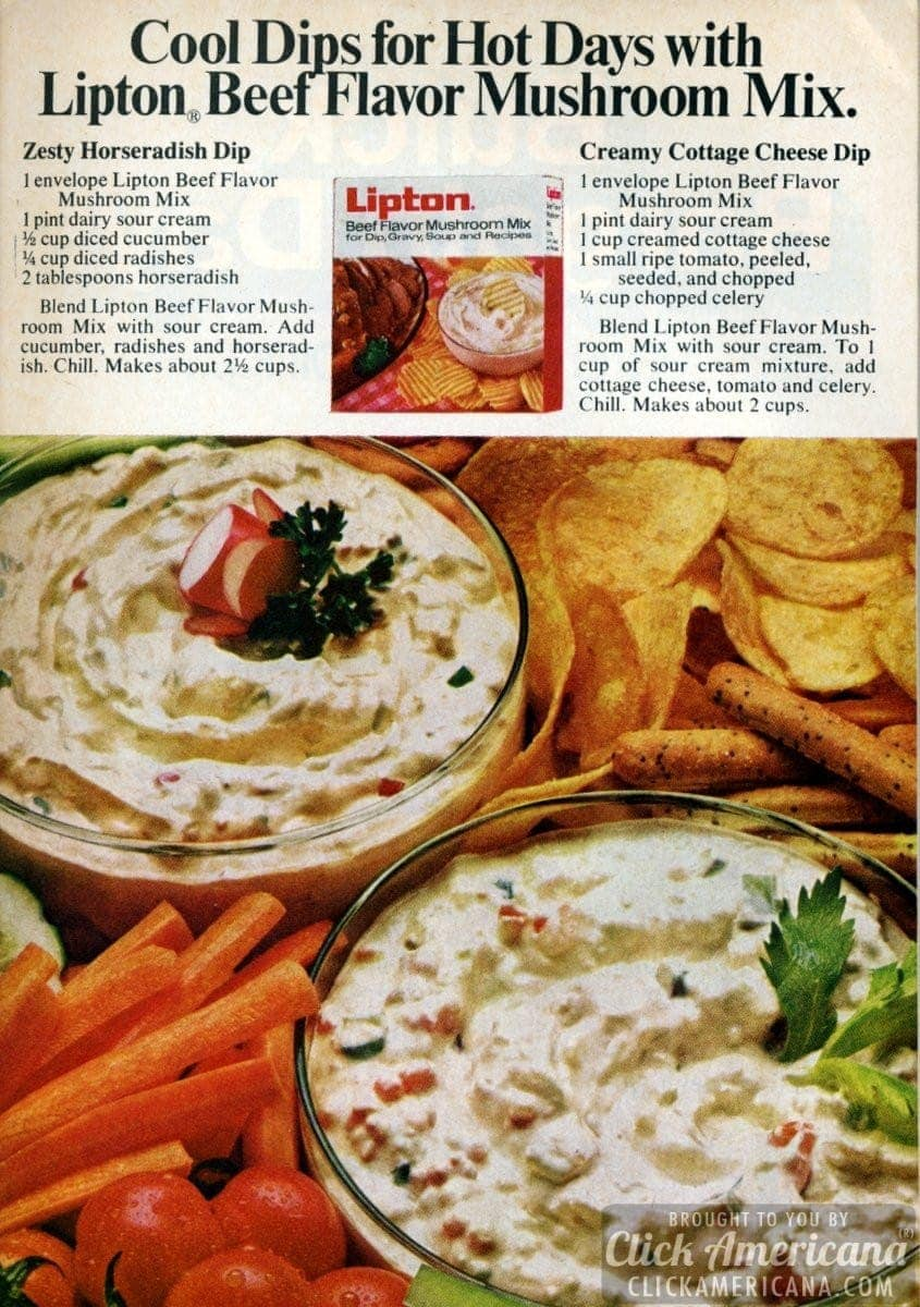 Zesty Horseradish Dip & Creamy Cottage Cheese Dip (1972)