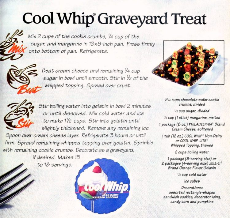 Cool Whip Oreo graveyard treat - Halloween dessert from 1994 (2)