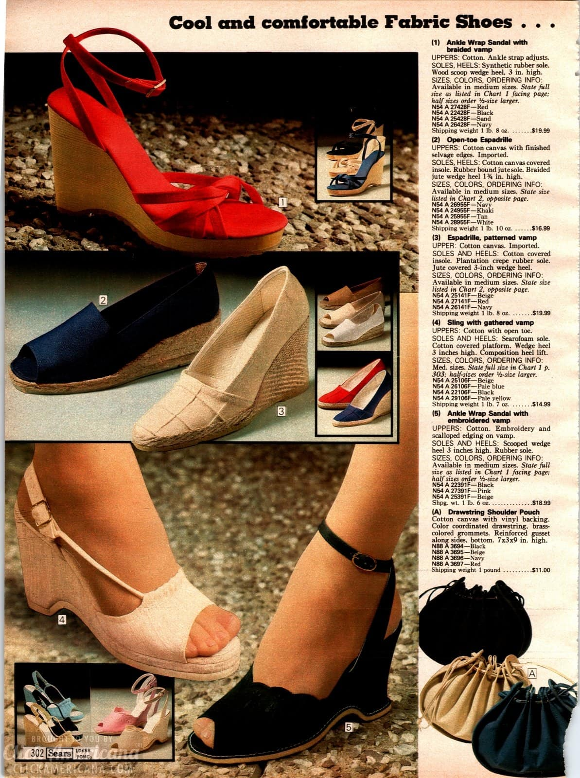Cool and comfortable fabric heels and espadrilles from 1979