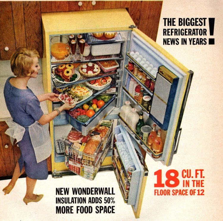 Cool retro kitchen features from 1960 - Refrigerator with swing-out shelves