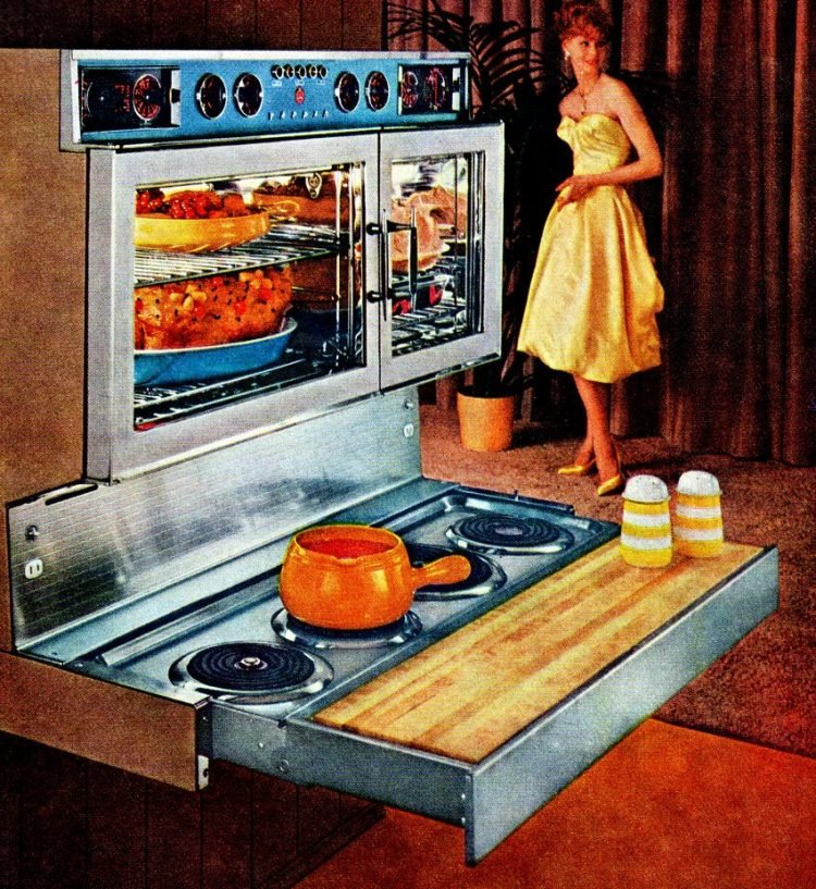 Cool retro kitchen features from 1960s - Pull out range with cutting board