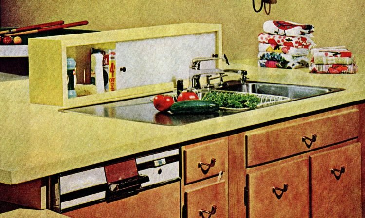 Cool retro kitchen features from 1965 - Place to keep your dish soap, sponges etc behind the kitchen sink