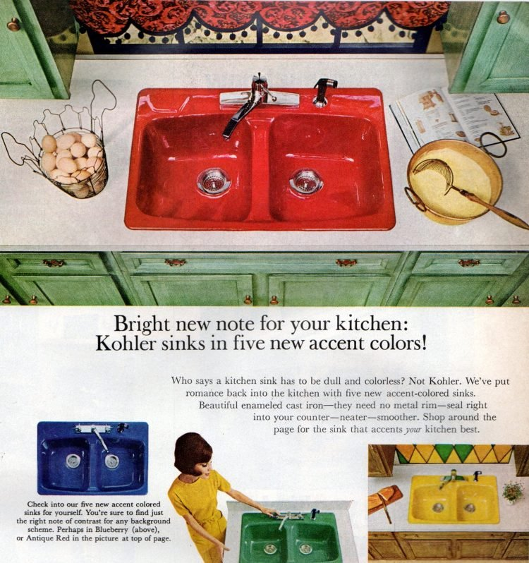 Cool vintage kitchen design ideas - Colorful kitchen sinks