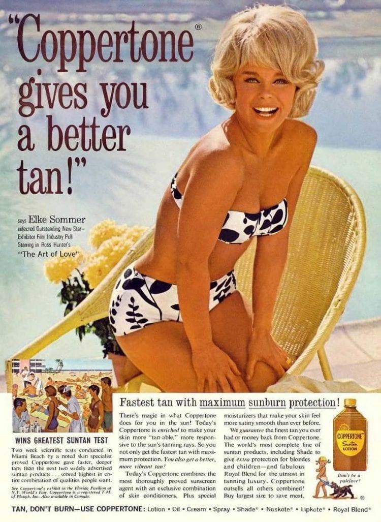 Coopertone gives you a better tan - Elke Sommer on suntans c1965