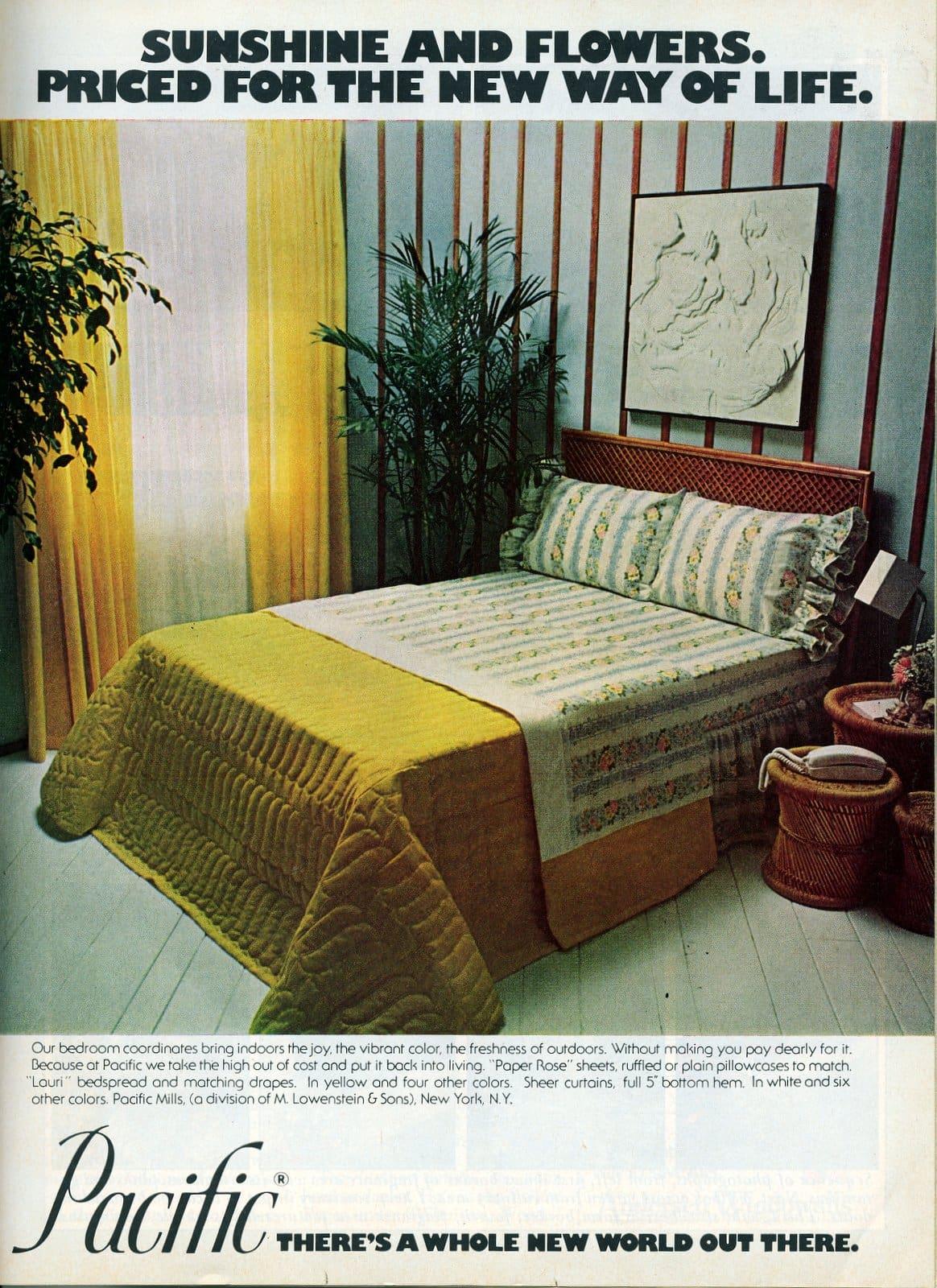 Coordinating vintage bedspread and sheets (1975)