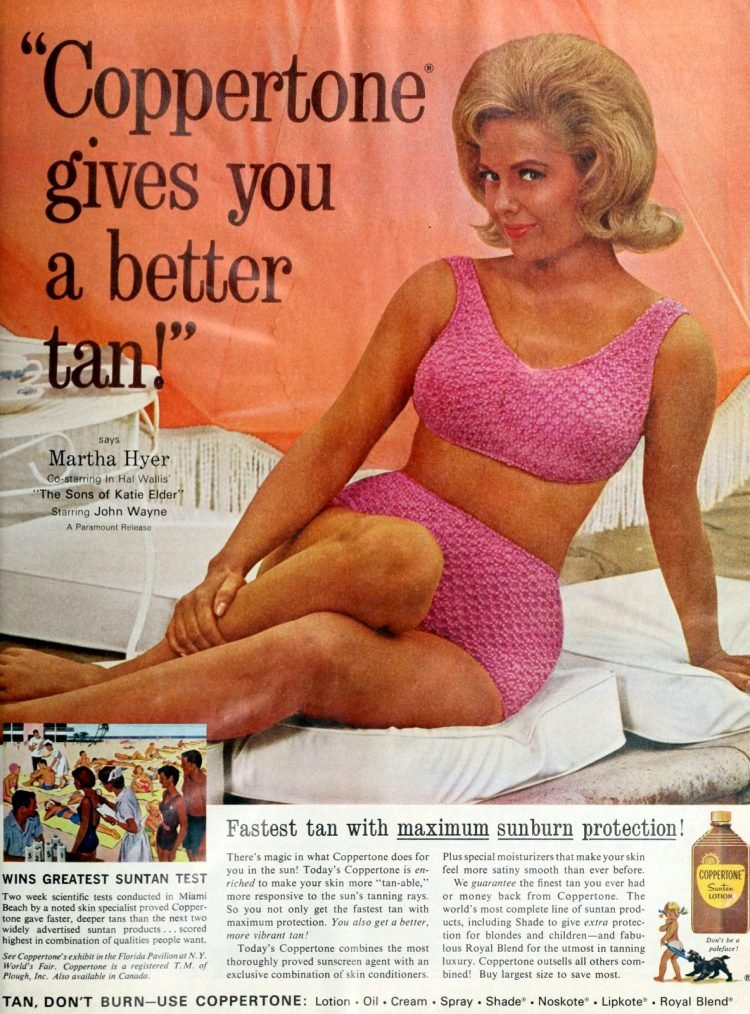 Coppertone tanning lotion ad from 1965 with Martha Hyer