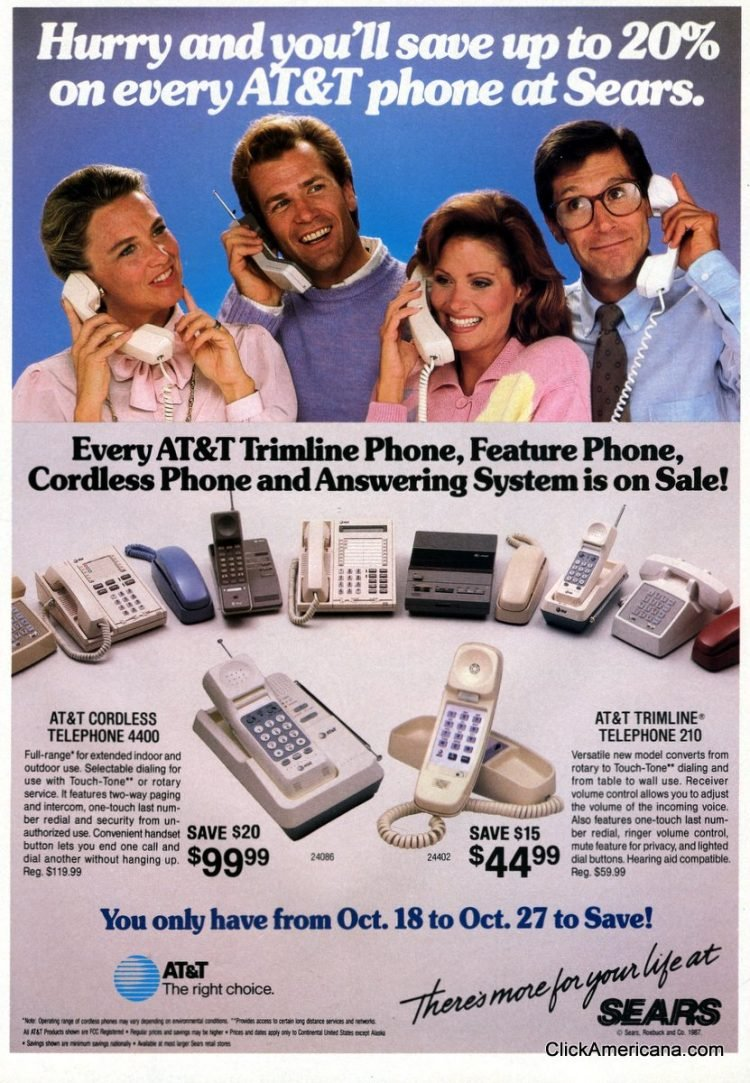 Cordless ATT phones at Sears 1987