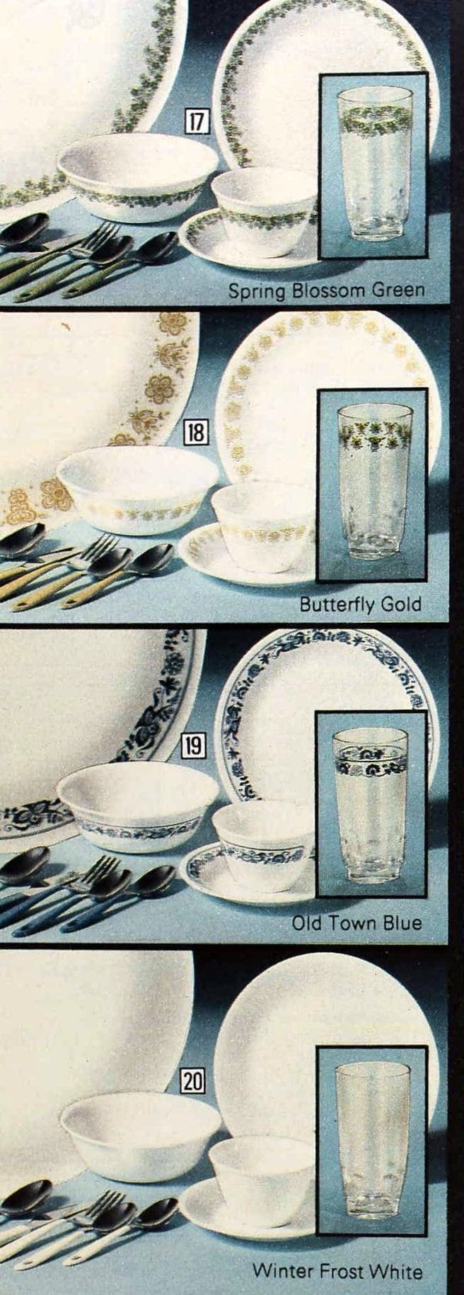 Corelle dish patterns from the seventies