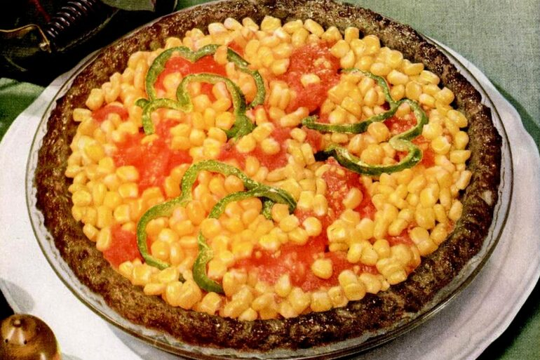 Corn pie with ground beef crust - meat crust