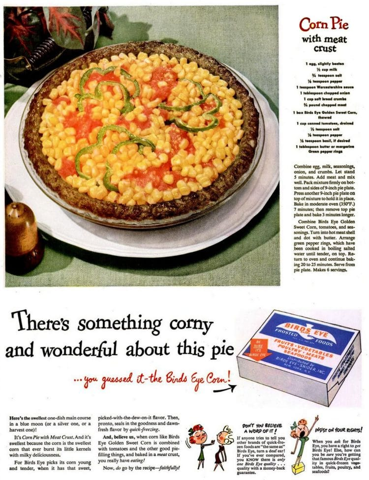 Corn pie with ground beef crust - meat crust - recipe from 1946
