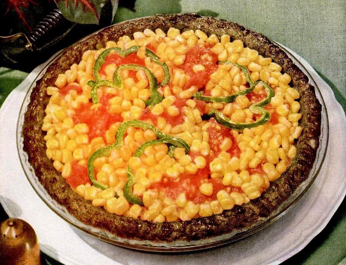 Corn pie with ground beef crust - meat crust