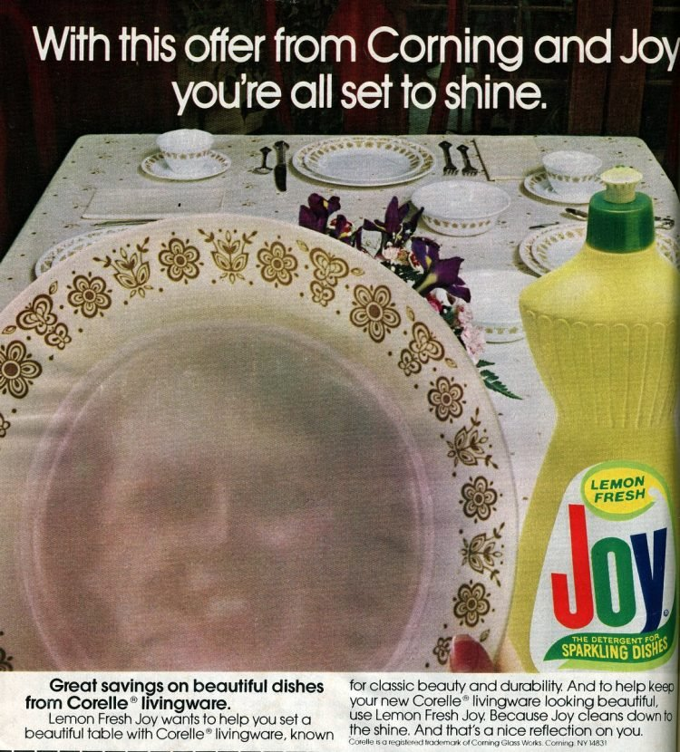 Corning dishes from Joy detergent (1982)