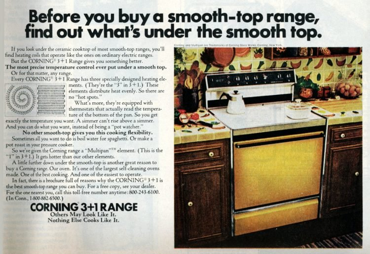 Corning flat-top kitchen ranges from 1976