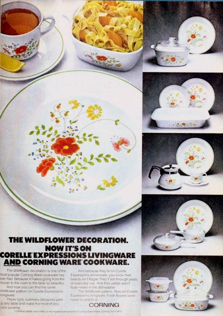 Corelle Expressions Livingware plates and dishes (1978) - Wildflower