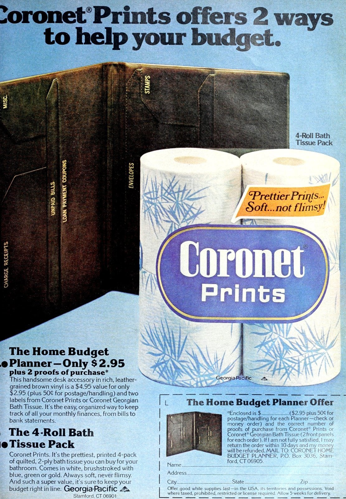 Coronet toilet paper budget planner offer (1977)