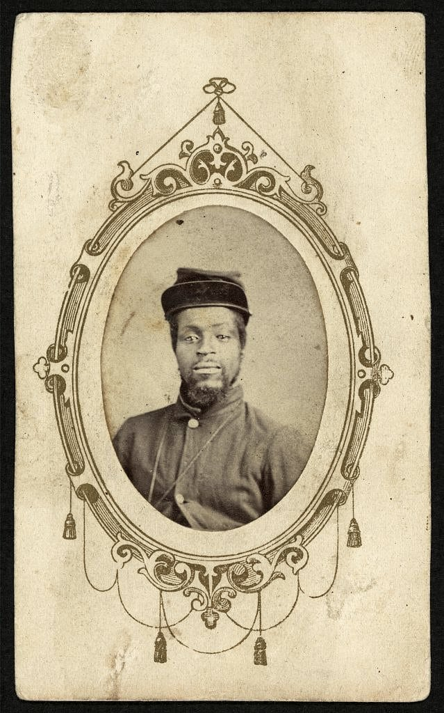 Corporal Kager Mays of Kentucky, who enlisted in 1864 in the 108th United States Colored Infantry and died of fever in 1865