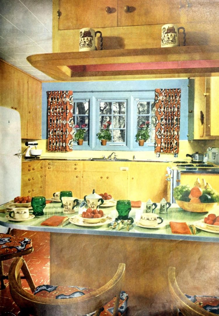 Country-style vintage kitchen decor from 1951