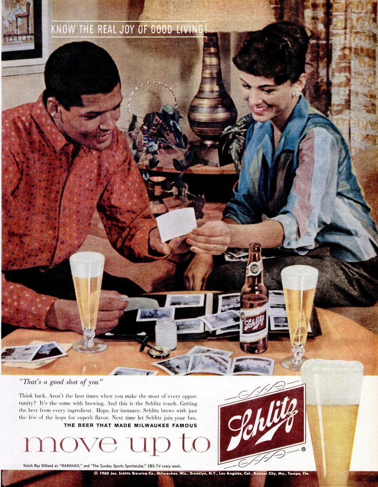Couple at home with beer and photos - Move up to Schlitz (1960)