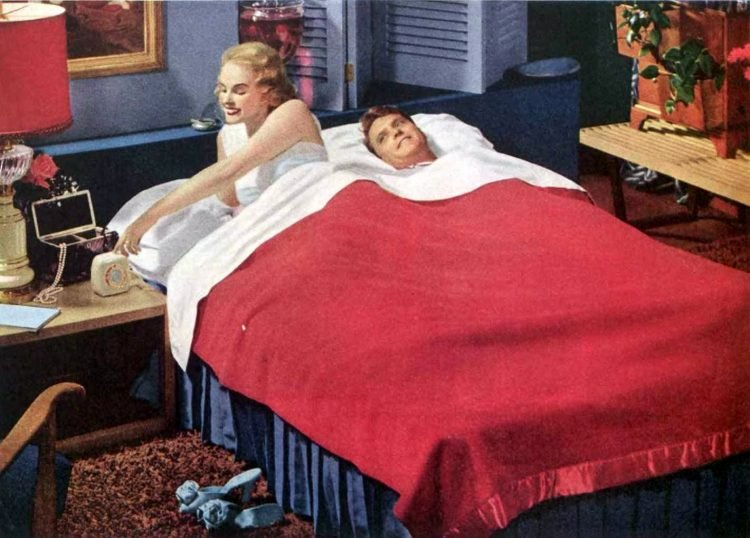Couple in bed in 1952