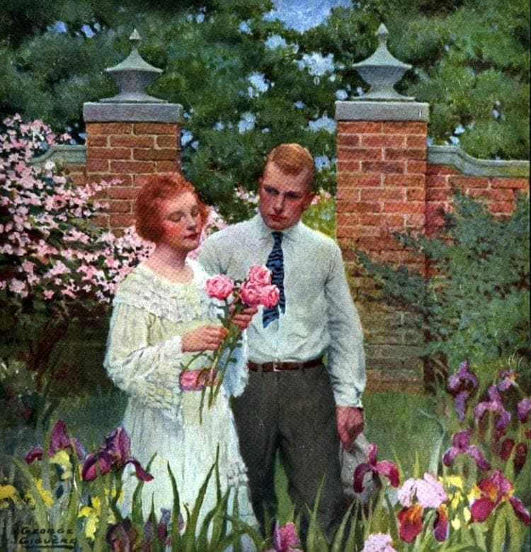 Newly-engaged couples - Walking in the garden with flowers 1920s