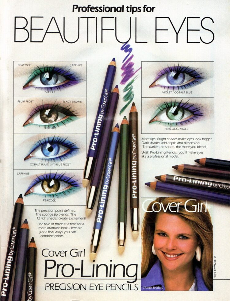 Cover Girl colored eyeliner makeup tips from the '80s with Christie Brinkley - 1987 (2)