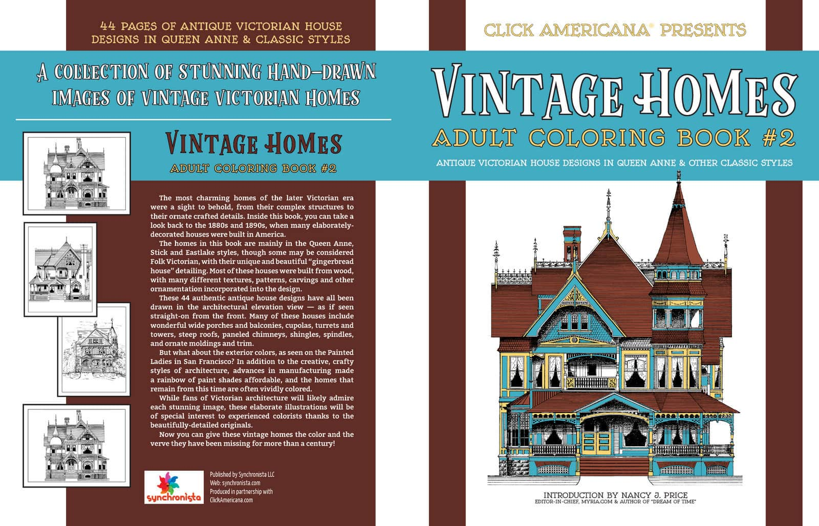 Cover - Vintage Homes Adult Coloring Book 2 Classic Victorian Houses