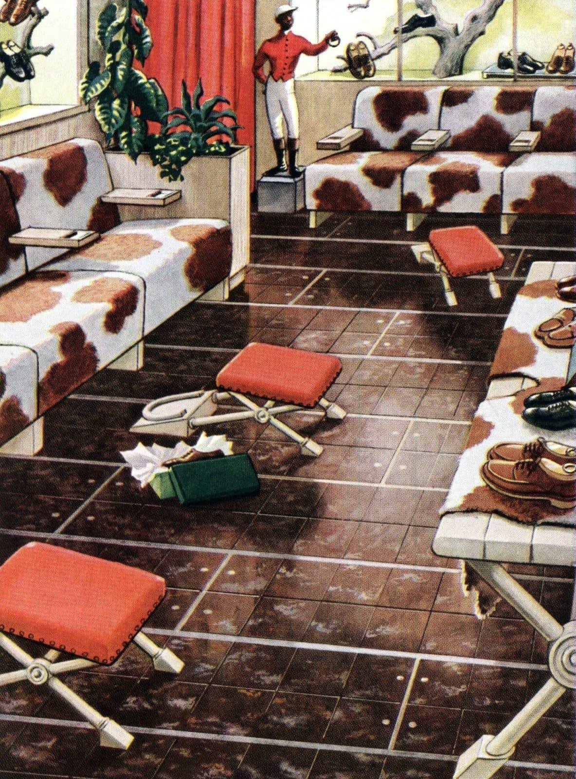 Cowhide-themed vintage shoe store decor (1949)