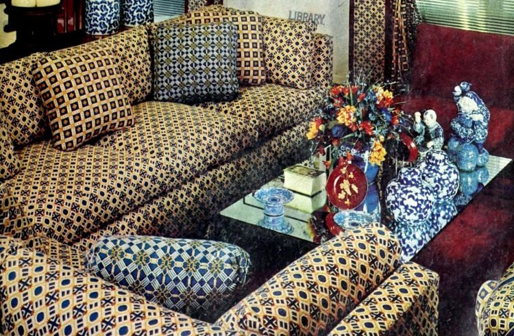 Cozy patterned retro sofas from the 70s
