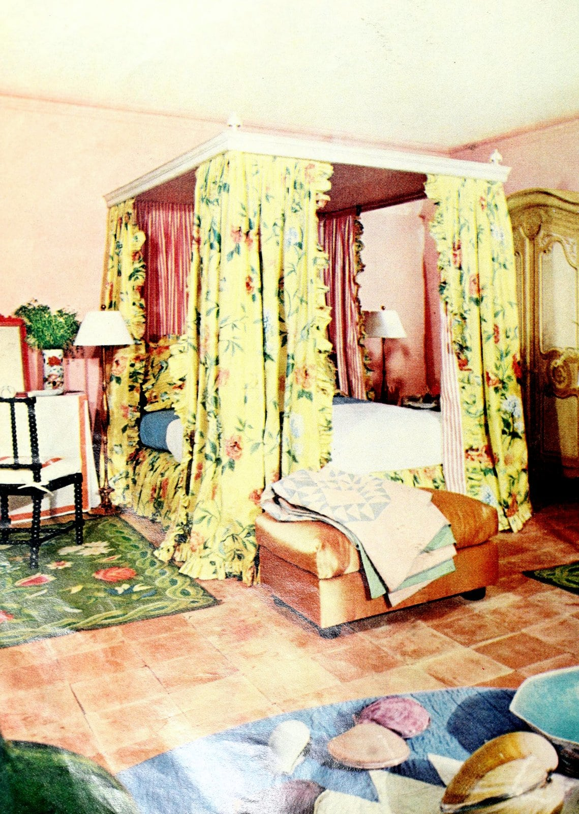 Cozy yellow and pink vintage canopy bed for a master bedroom (1972)