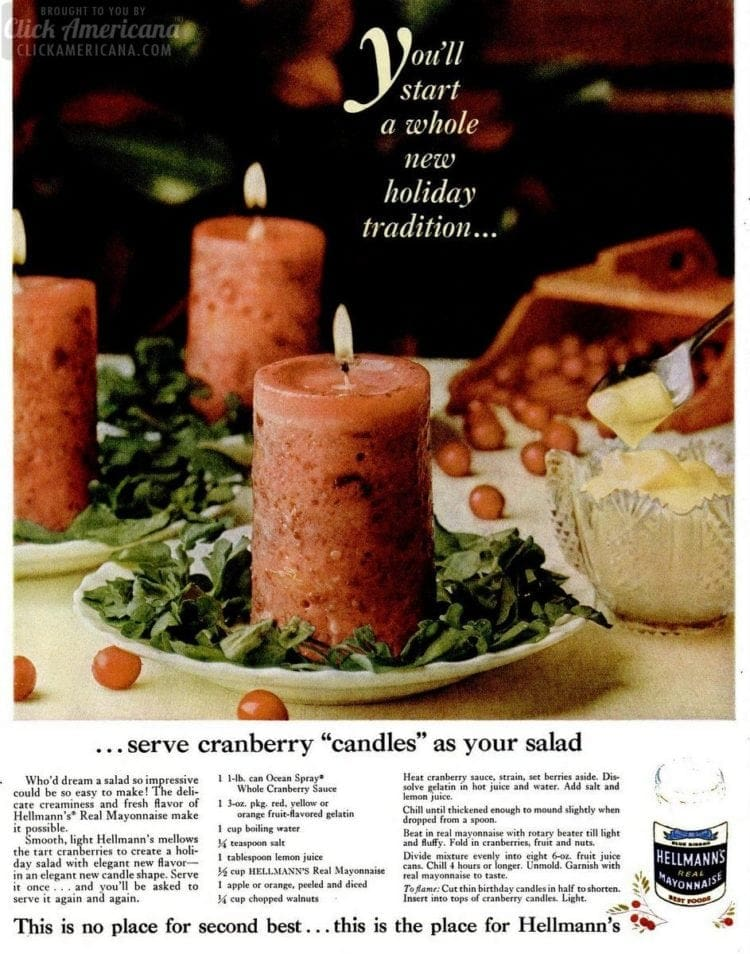 Serve cranberry candles as your salad for the holidays (1960)